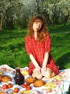 Girl On Picnic Royalty Free Stock Photography