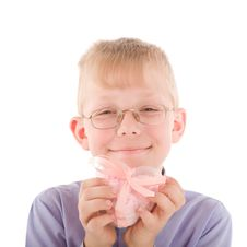 Free Portrait Of Smiling Young Boy Gving Gift Royalty Free Stock Image - 5595086