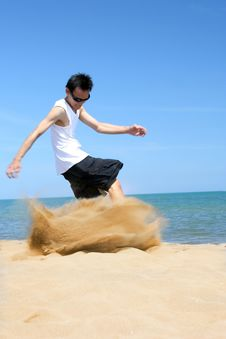 Free Dancing On Beach Stock Photography - 5596682