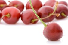 Sweet Cherries With One Cherry At Front Side Stock Photo