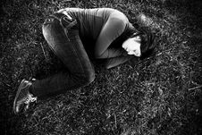 Young Woman On The Grass Stock Photography
