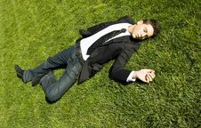 Free Businessman On The Grass Stock Photo - 5597830