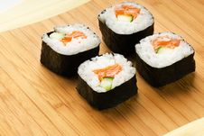 Free Sushi On Bamboo Plate Stock Photography - 5599452