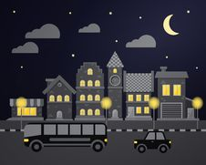 Flat City Night Vector Illustration Royalty Free Stock Image