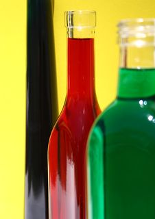 Free Three Bottles Of Colour Royalty Free Stock Image - 566756