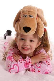 Free Girl With Dog On Head Stock Image - 567721