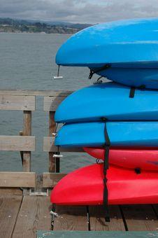 Free Sea Kayaks On A Pier Royalty Free Stock Photos - 567878