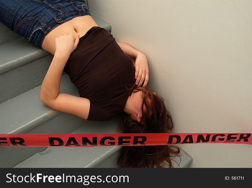 Crime Scene Simulation Strangled Victim Lying Stock Photo