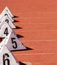 Free Athletes Placement On Tracks Stock Image - 5609821
