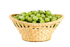 Free Wicker Basket Filled With Green Gooseberries Royalty Free Stock Photos - 5602158