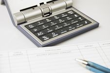 Free Calculator, Check, Ballpen Royalty Free Stock Photography - 5603357