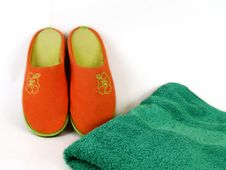 Carpet Slippers And Towel Stock Images