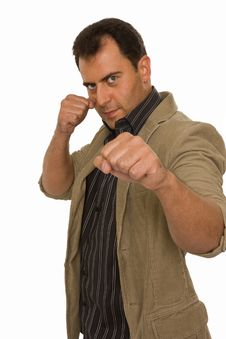 Free Punch Fist From An Attractive Young Man Stock Photography - 5605722