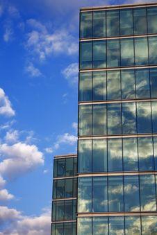 Blue Sky Reflection On Glass Modern Building Stock Photo