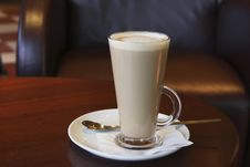 Coffee - Latte Cappuccino In A Tall Glass Stock Image