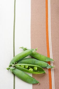 Fresh Green Peas On Tablecloth Background Royalty Free Stock Photography