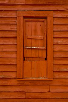 Free Old Red Wood Window. Stock Image - 5606591