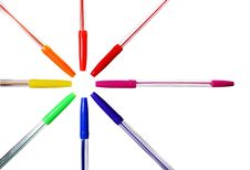 Free Colored Ballpoint Pens 2 Royalty Free Stock Photography - 5607007