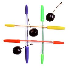 Free Colored Ballpoint Pens And Cherries Royalty Free Stock Photo - 5607015