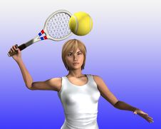 Free Women About To Hit Tennis Ball 7 Royalty Free Stock Image - 5607186