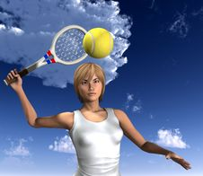 Free Women About To Hit Tennis Ball Royalty Free Stock Photo - 5607445