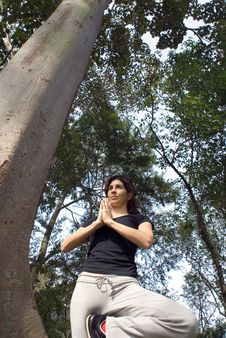 Woman In Yoga Pose Next To Tree In Park - Vertical Royalty Free Stock Photo