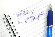 Free Blue Pen And Note Book Royalty Free Stock Photos - 5608648