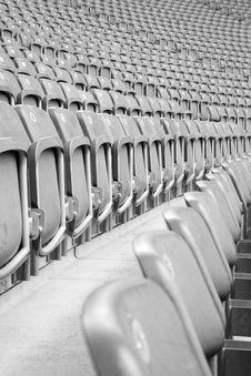 Rows Of Grey Empty Stadium Seats Stock Photography