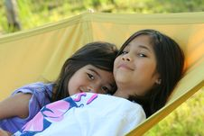 Free Two Girls On A Hammock Stock Photo - 5608890