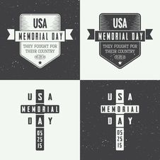 Free Memorial Day Logo Set Royalty Free Stock Images - 56077949