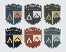 Badge Logo Camp With Rock And Tent. Vintage Style, Different Colors. Stock Images