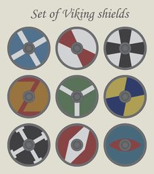 Free Set Of Viking Shields Royalty Free Stock Photo - 56099735