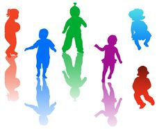 Free Kids Silhouettes Stock Images - 5610754