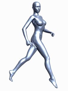 Free Metallic Woman With Gun Stock Images - 5611144