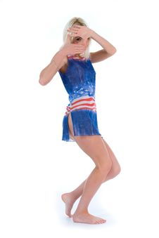 Free Girl In  Dress From The American Flag Royalty Free Stock Photo - 5611555