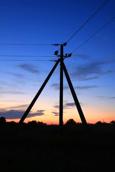 Night Scene With Electric Columns Stock Image