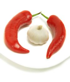 Chili Peppers And Garlic Royalty Free Stock Image