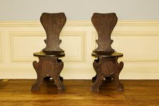 Antique Oak Chairs Royalty Free Stock Photo