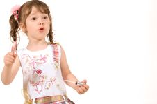 Free Adorable Little Girl Applying Make-up Royalty Free Stock Photos - 5613798