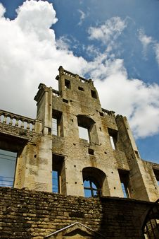 Remnants Of An Elizabethan Mansion Facade Stock Images