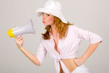 Free Beautiful Young Girl With Megaphone On White Royalty Free Stock Photo - 5614275