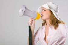 Free Beautiful Young Girl With Megaphone On White Royalty Free Stock Image - 5614286