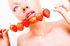 Free Sexy Girl With Red Strawberry Isolated On White Royalty Free Stock Image - 5614376
