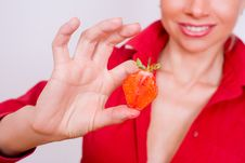 Free Sexy Girl With Red Strawberry Isolated On White Stock Photo - 5614390