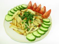 Prepared Potato With Cucumbers And Tomatoes Stock Photography