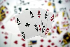 Four-to-ace On Blurry Background Royalty Free Stock Images
