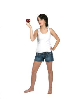 Free Teenage Girl Holding Red Apple Royalty Free Stock Photo - 5615405