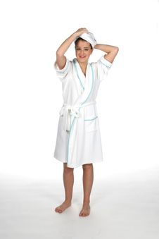 Teen In Robe With Towel On Hair Royalty Free Stock Photo
