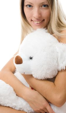 Free Lovely Young Blonde Girl With Teddy Bear Royalty Free Stock Image - 5615776