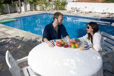 Free Couple By Pool - Horizontal Stock Photos - 5616253